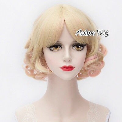 Lolita 30CM Short Light Blonde Mixed Pink Curly Fashion Women Cosplay Hair Wig