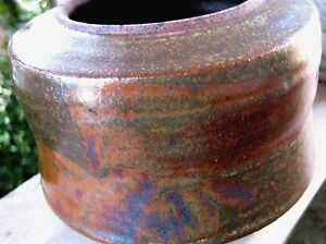 Vintage Studio Art Pottery Low Pot Jar Vase Modern Abstract Signed Pacific NW?