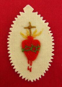 Vintage Dutch SACRED HEART Detente Scapular Badge HALT! THE HEART OF JESUS