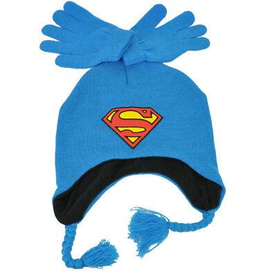 Süß GehäRtet Dc Comics Superman Gestrickte & Handschuh Set Blau Ohr Klappe Beaniemütze Super Weitere Ballsportarten