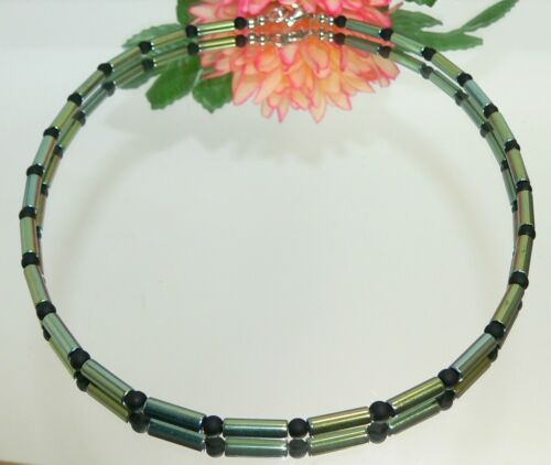 Halskette Kette Walzenkette  Hämatit petrol blau grün Glas matt schwarz 063g