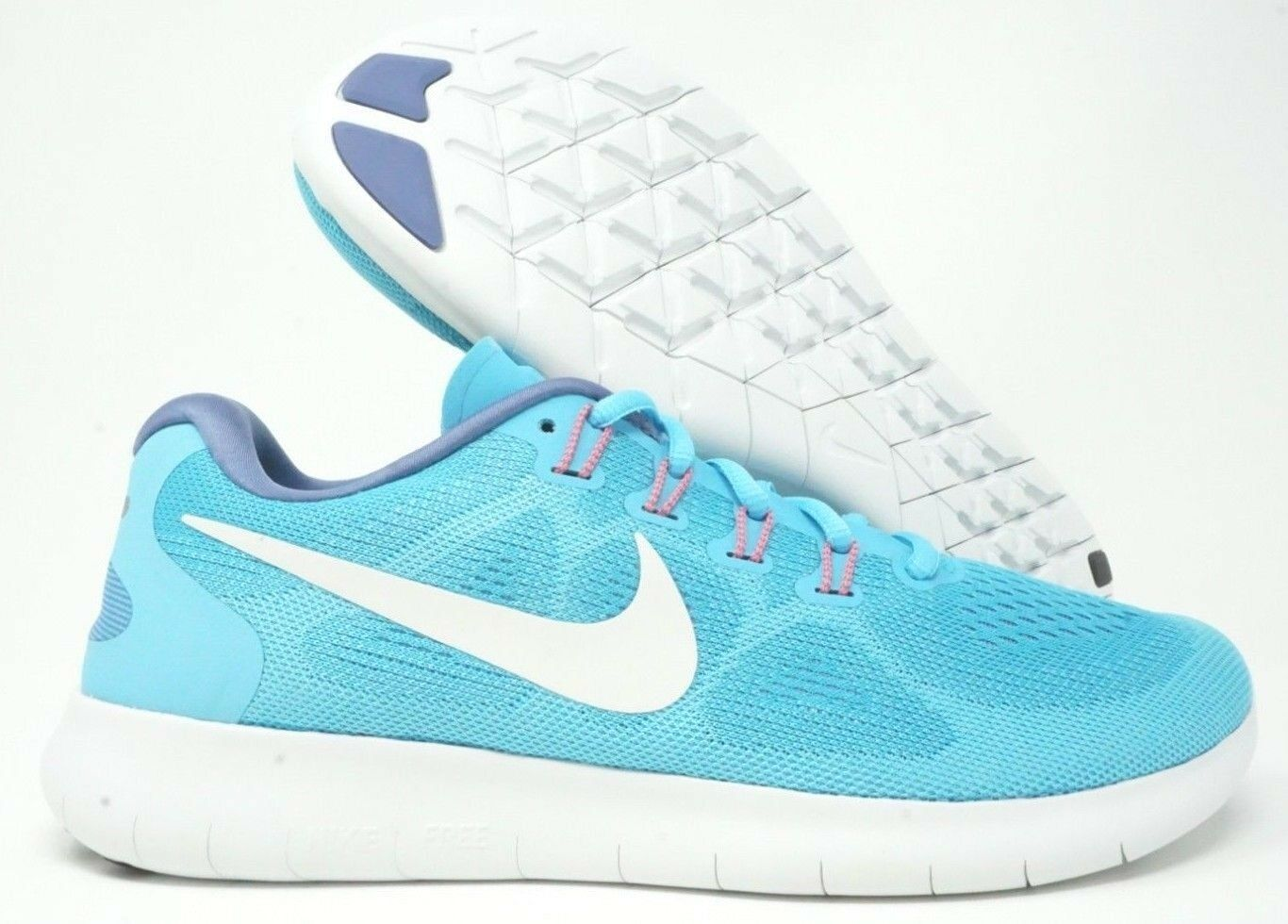 Nike kvinnor Free RN RN RN 2017 springaning skor blå vit Storlek 7.5  sälja som heta kakor