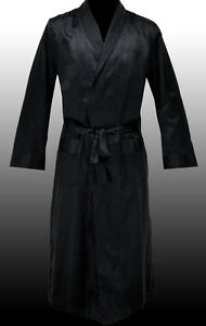NEW-HUGO-BOSS-Mens-Black-Silk-Long-Robe-Dressing-Gown-Housecoat-S-SMALL