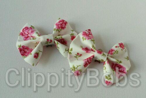Paire de fait à la main Motif Floral Rose Ditsy Fleur Imprimé Rayures Tissu Shoe bows clips