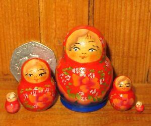 MINIATURE-Matryoshka-Russian-nesting-dolls-RED-BLUE-Babushka-5-tiny-Marchenko