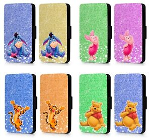 Printed-Glitter-Disney-Winnie-Tigger-Piglet-Eeyore-Phone-Flip-Case-Cover-Wallet