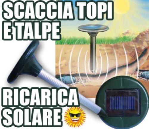 SCACCIATALPE SOLARE AD ULTRASUONI TOPI REPELLENTE TALPE RODITORI MQ.625 1X1,2V