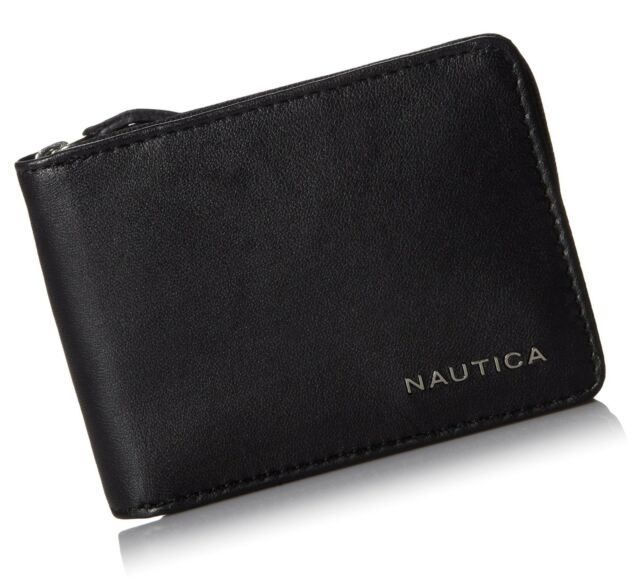 Nautica Men/'s Weatherly Genuine Black Leather Passcase Bi-Fold Wallet