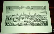 Lübeck alte Ansicht Merian Druck Stich 1650 Panorama