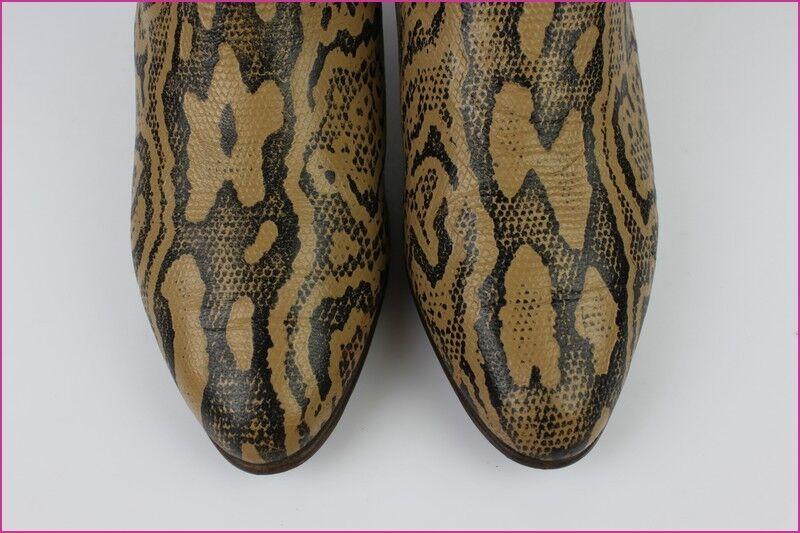 VINTAGE MI-Bottes Leder und Wildleder gedruckt Python braun t 36/36,5