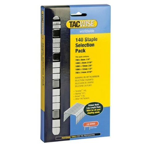 14 mm tailles-Tacwise Série 140 glavanised Craft Staples-Boîte de Sélection 6 mm