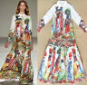 Vogue Womens Floral Ladies Long Long Sleeve Printing Vintage Tulle Maxi Dress