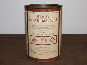 VINTAGE-EARLY-BABY-FOOD-8-1-2-034-MEAD-JOHNSON-amp-CO-DEXTRI-MALTOSE-TIN-CAN-EMPTY