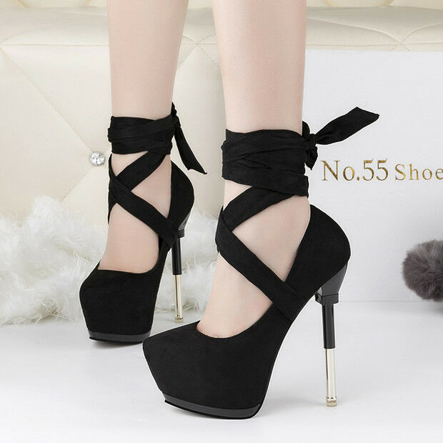 Zapatos casuales salvajes Descuento por tiempo limitado zapatos de salón invierno 15 tacón aguja negro cordones como piel cómodo 9558