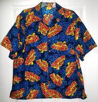 Hawaiian Tropic Mens Short Sleeve Button Down Logo Shirt Blue Red Yellow L