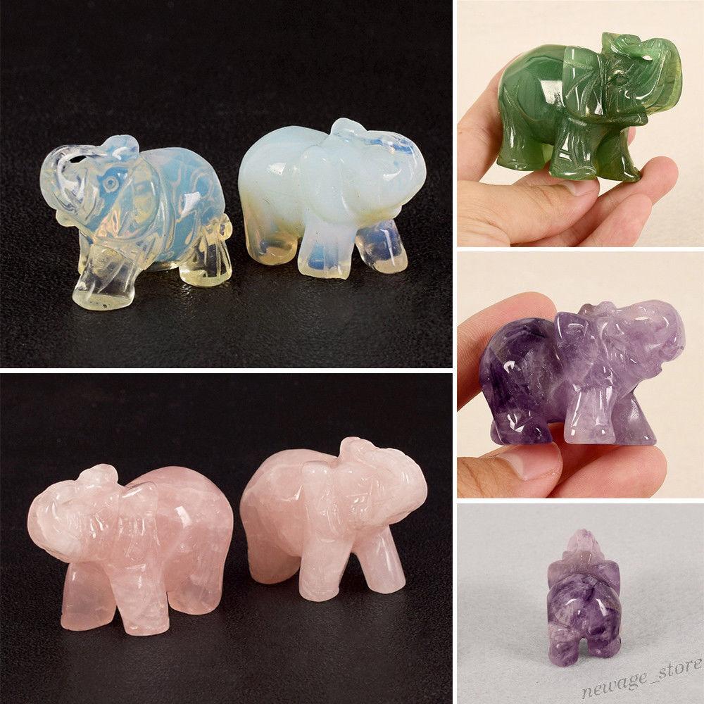 1X Gem Crystal ANIMAL Carved Elephant Statue Jade Stone Home Decor Ornament Gift