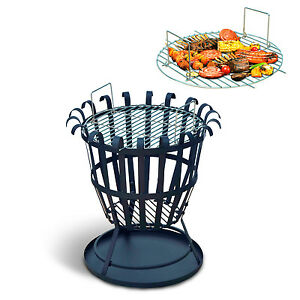 Outsunny Fire Pit Basket Bbq Grill Outdoor Garden Patio