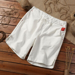 M-5XL-Mens-Baggy-Linen-Shorts-Summer-Drawstring-Casual-Elastic-Beach-Short-Pants