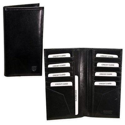 Intelligente Portafoglio Porta Carte Di Credito E Documenti In Vera Pelle Nero Grande 18*9 Cm