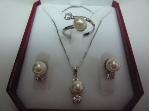 925 sterling silver pearl 7mm and zircon set  ring earring chain and pendant