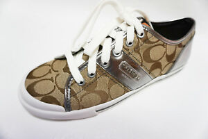 Nuovo 12cm Coach in scatola Signpelle Khaki Sneakers Frances 8 A1105 5 Scarpe Canvas HIWD9YE2