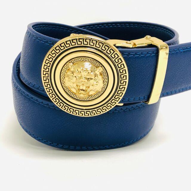 Fashion Automatic Designer Men/'s Red Gold G Slide Buckle Ratchet  Leather Belt