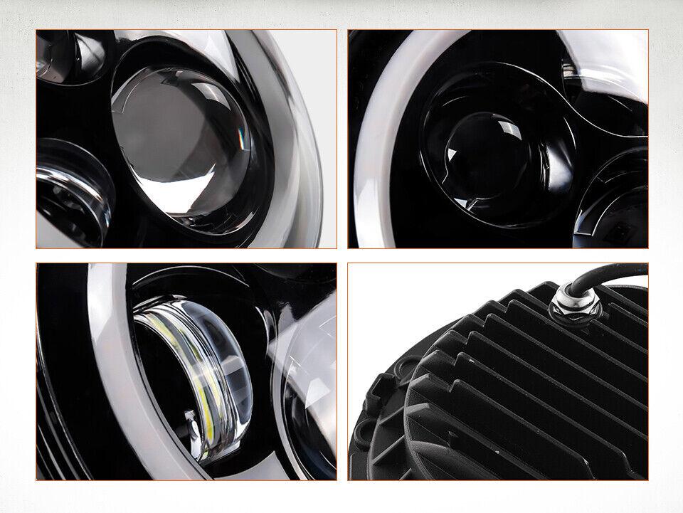 "Pair 7"" Inch Round LED Headlights Halo Angle Eyes For Jeep Wrangler JK LJ TJ CJ 11"