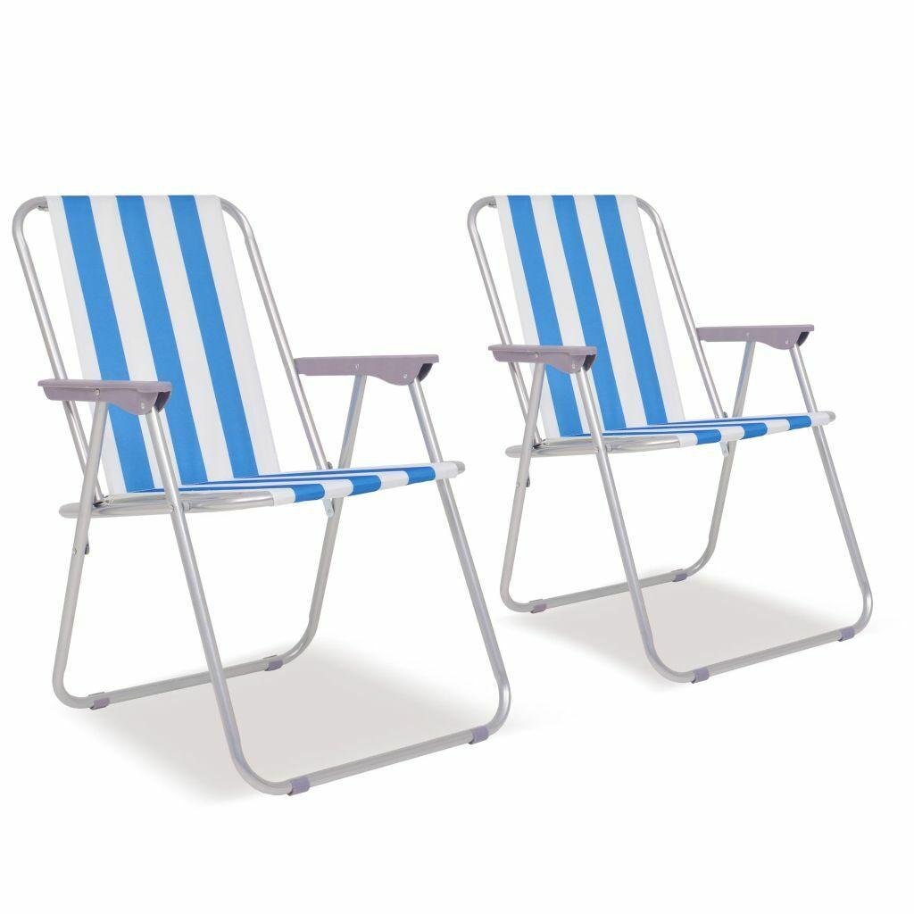 VidaXL 2x Klappstühle für Camping Blau und weiß Stahl 52x62x75cm Outdoor Sitz