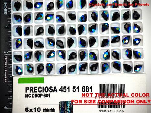 48 Czech Machine Cut Top Drilled Drop Pendants 6x10mm Crystal Labrador H coated