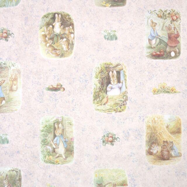 1990s Childrens Vintage Wallpaper Beatrix Potter Peter Rabbit on Pink SEALED