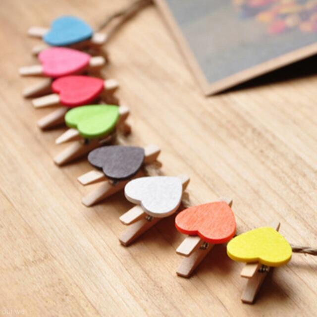 20pcs Wooden Wood Mini Clip Message Photo Card Paper Pegs Clips Party Decoration