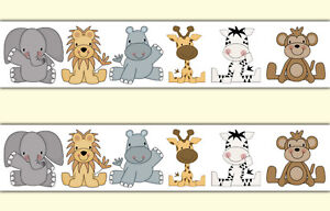 Details About Safari Animal Wallpaper Border Decals Baby Boy Nursery Jungle Wall Art Stickers