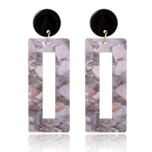 Fashion Women Statement Boho Acrylic Alloy Geometric Big Dangle Drop Earrings