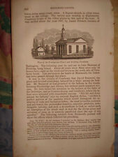 1844 CRANBURY NEW JERSEY ANTIQUE PRINT EARLY VIEW NR