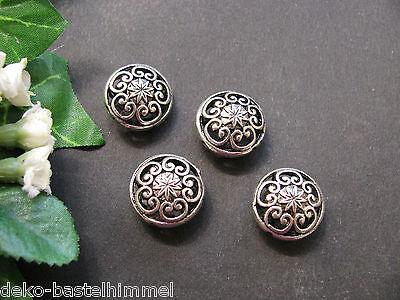 4 filigrane Metallperlen, 1,7 cm, Perlen basteln, super für Trachtenschmuck