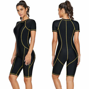 Womens-One-Piece-Rash-Zip-Guard-Front-Snorkeling-Surfing-Swimsuit-Short-Sleeves