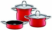 Wmf Silit Ceramic Minimax 5-piece Cookware Set In Red, Made In Germany