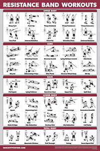 Quickfit Resistance Bands Workout Exercise Poster Double Sided Laminated 18 Ebay