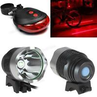 Usb-powered Cree Lb-xl T6 Led 3 Modes Bike Bicycle Headlamp + Laser Rear Light