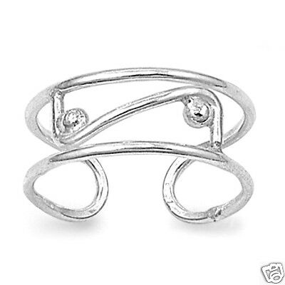 Adjustable Plain Toe Rings Sterling Silver 925 Fashion Beach Jewelry Gift 6mm