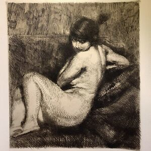 Albert besnard etching eau forte etching the turban study of naked woman female
