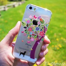 MADE IN JAPAN Hard Shell Clear Case Dog Color Flower Tree for iPhone SE / 5s / 5