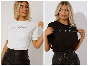 529530f04fe Details about White Black Short Sleeve Sweet But Psycho Slogan Printed Tee  T Shirt Tops RRP15