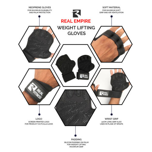 Workout Gloves Gym Gloves With Wrist Support Fitness Weight Lifting GYM STRAPS