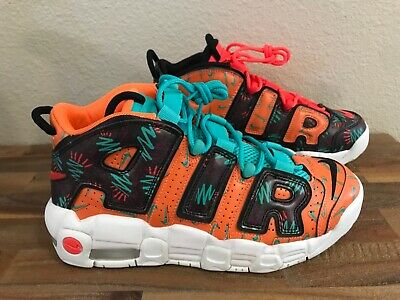 NIKE AIR MORE UPTEMPO GS TOTAL ORANGE BLACK TROPICAL JADE AT3408 800 NEW | eBay