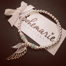 Silver & Amazonite angel wing bracelet gemstone protection jewellery boho