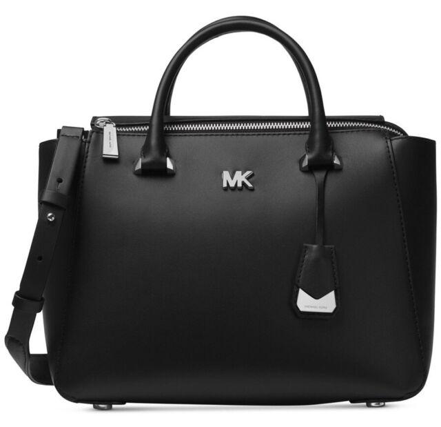 New Michael Kors Nolita Medium Satchel Black Leather Bag Shoulder Silver Tone