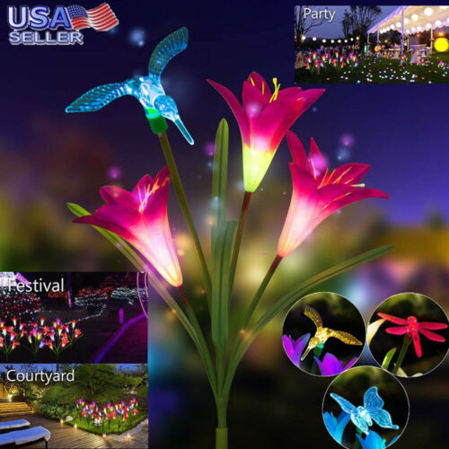 Home Solar LED Light Lily Flower Lamp Garden Stake Multi-color Change Decoration