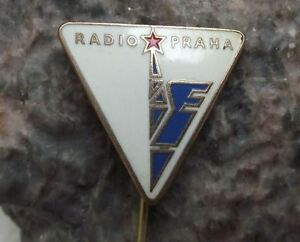 Antique Radio Prague Praha Czechoslovakia Broadcasting Tower Mast Logo Pin Badge