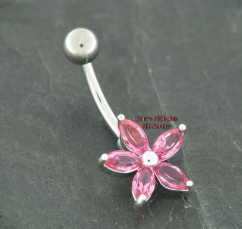 Ombligo piercing motivo cristal flor rosa engarzar zirkoniakristalle